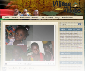 Village of Hope Malawi Website Screenshot