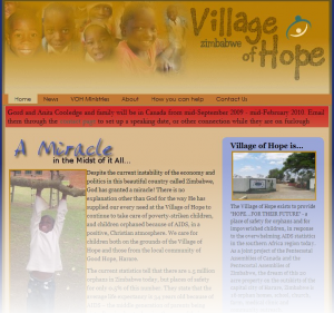 Village of Hope Zimbabwe Website Screenshot